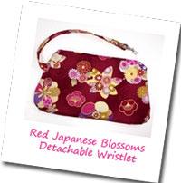 Red Japanese Blossoms Detachable Wristlet