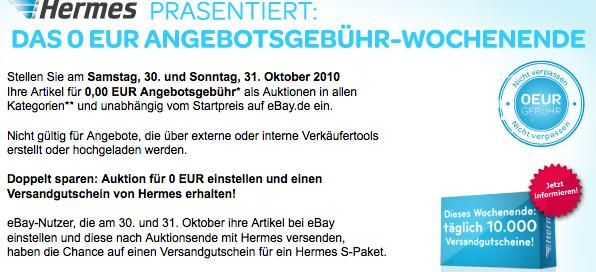 eBay: 0 Euro Angebotsgebühr Wochenende