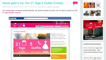 Facebook Blogetten Contest. Diesmal 21 Tage 5 Outfits.