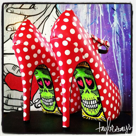 high heel sole designer polka dots