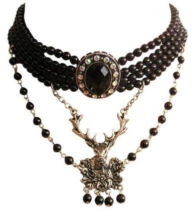 Edel Trachtenschmuck Perlen Kristall Kropfkette
