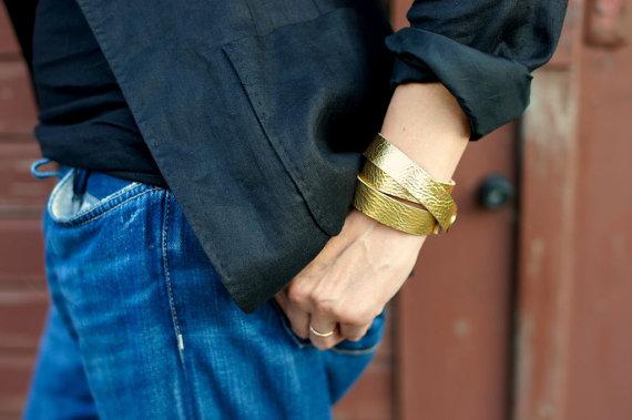 gold lederarmband