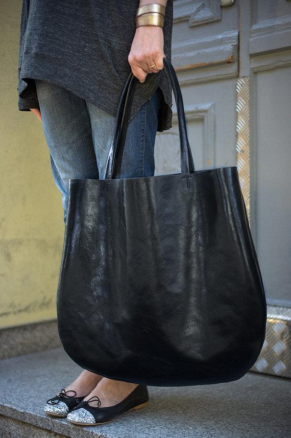 oversized black Lederhandtasche