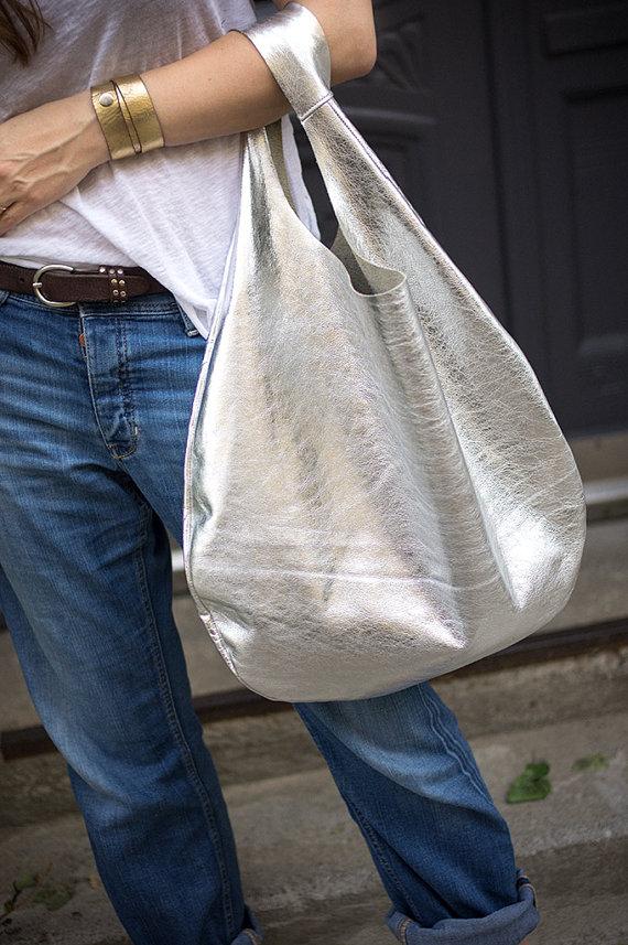 silber boho ledertasche